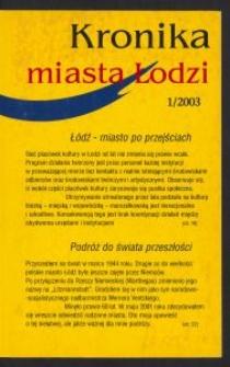 Kronika Miasta Łodzi. 2003 [nr] 1