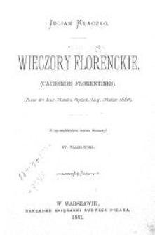 Wieczory florenckie = (Causeries florentines)