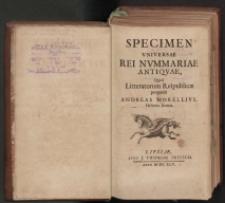Specimen universae rei nummariae antiquae [...] : fragmenty