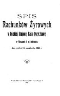 Spis rachunków żyrowych w Polskiej Krajowej Kasie Pożyczkowej w Warszawie i jej Oddziałach. Stan z dniem 30 października 1921 r.
