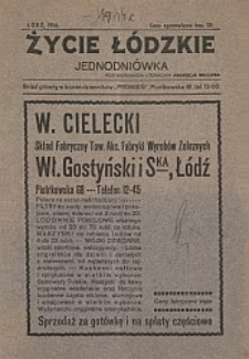 Życie łódzkie : jednodniówka, Łódź 1914