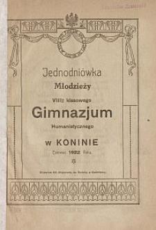 Jednodniówka młodzieży VIII-io klasowego Gimnazjum Humanistycznego w Koninie : czerwiec 1922 roku