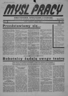 Myśl Pracy : dwutygodnik społeczno-literacki poświęcony sprawom kultury łódzkiego świata pracy. 1935-12-01 R. 1 no 1
