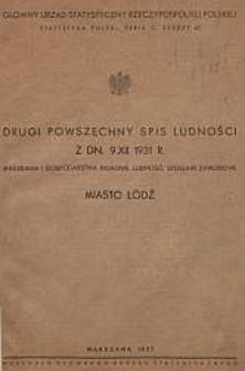 Drugi Powszechny spis ludności z dn. 9 XII 1931 r. : mieszkania i gospodarstwa domowe, ludność, stosunki zawodowe : miasto Łódź