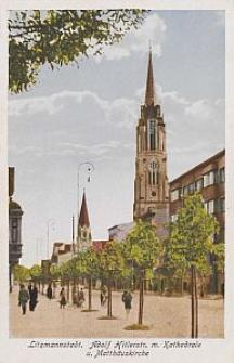 Litzmannstadt, Adolf Hitlerstr. m. Kathedrale u. Matthäuskirche