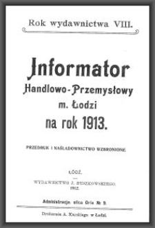 Informator Handlowo-Przemysłowy m. Łodzi : na rok 1913