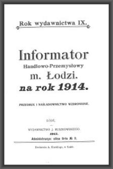 Informator Handlowo-Przemysłowy m. Łodzi : na rok 1914. [Cz. 3 : od Taryfy domów]