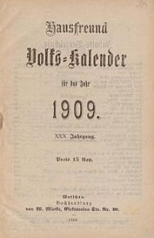 Hausfreund : Volks-Kalender für das Jahr 1909. Jg 30