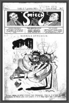 Śmiech : tygodnik humorystyczno-satyryczny : wychodzi w każdą sobotę. 1912-12-07 R. 1 no 7