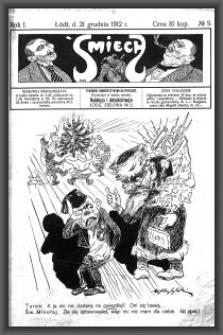 Śmiech : tygodnik humorystyczno-satyryczny : wychodzi w każdą sobotę. 1912-12-21 R. 1 no 9