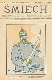 Śmiech : tygodnik humorystyczno-satyryczny : wychodzi w każdą sobotę. 1913-04-12 R. 2 no 16