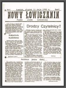 Nowy Łowiczanin : pismo Ziemi Łowickiej. 1990-05-11 R. 1 nr 1