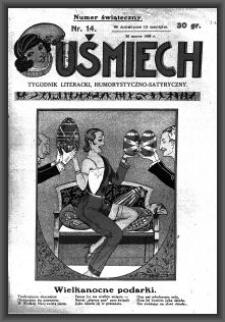 Uśmiech : tygodnik literacki, humorystyczno - satyryczny. 1929-03-30 [R. 3] nr 14