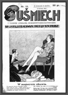 Uśmiech : tygodnik literacki, humorystyczno - satyryczny. 1929-04-25 [R. 3] nr 18