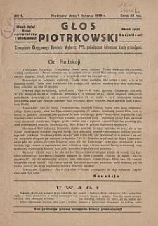 Głos Piotrkowski : czasopismo Okręgowego Komitetu Wyborcz. PPS, poświęcone interesom klasy pracującej. 1919-01-01 no 1
