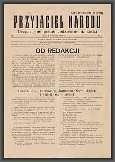 Przyjaciel Narodu : bezpartyjne pismo codzienne m. Łodzi. 1939-09-09 R. 1 nr 1