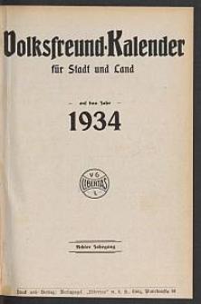 Volksfreund-Kalender für Stadt und Land auf das Jahr 1934. 8. Jg