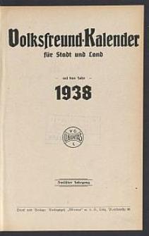 Volksfreund-Kalender für Stadt und Land auf das Jahr 1938. 12. Jg