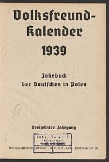 Volksfreund-Kalender 1939 : Jahrbuch der Deutschen in Polen. 13. Jg