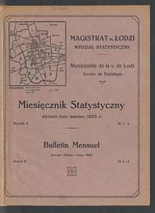 Miesięcznik Statystyczny = Bulletin Mensuel / Magistrat M. Łodzi, Wydział Statystyczny. 1923-01/03 R. 6 no 1/3