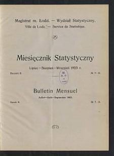 Miesięcznik Statystyczny = Bulletin Mensuel / Magistrat M. Łodzi, Wydział Statystyczny. 1923-07/09 R. 6 no 7/9