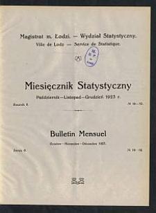 Miesięcznik Statystyczny = Bulletin Mensuel / Magistrat M. Łodzi, Wydział Statystyczny. 1923-10/12 R. 6 no 10/12