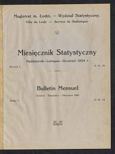 Miesięcznik Statystyczny = Bulletin Mensuel / Magistrat M. Łodzi, Wydział Statystyczny. 1924-10/12 R. 7 no 10/12