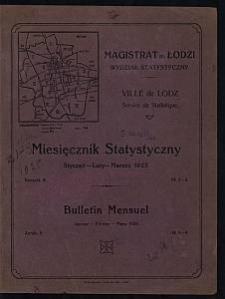 Miesięcznik Statystyczny = Bulletin Mensuel / Magistrat M. Łodzi, Wydział Statystyczny. 1925-01/03 R. 8 no 1/3