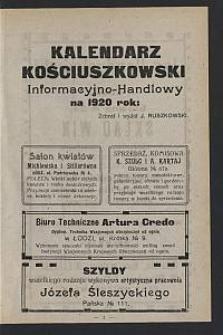 Kalendarz Kościuszkowski Informacyjno-Handlowy na 1920 Rok