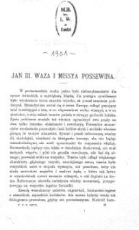 Jan III Waza i missya Possewina / Feliks Koneczny.